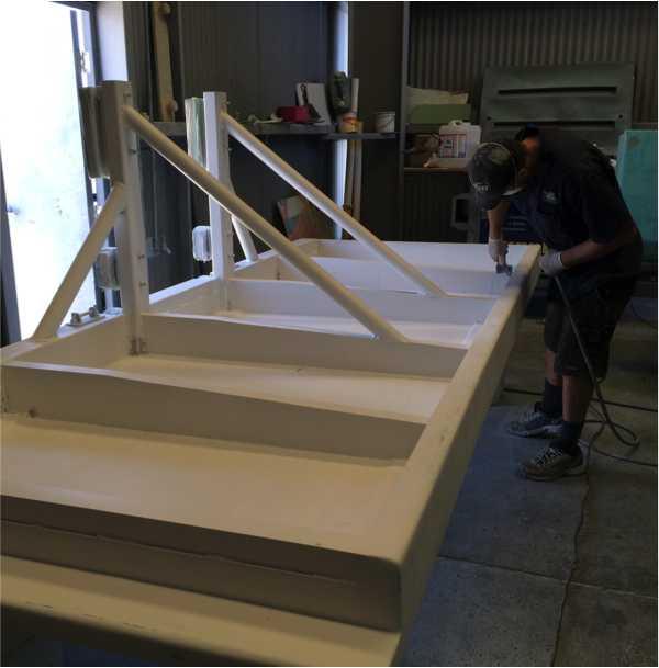 fibreglass, gelcoat, timber, and paint work